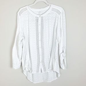 Chicos White Long Sleeve Button Down Crochet